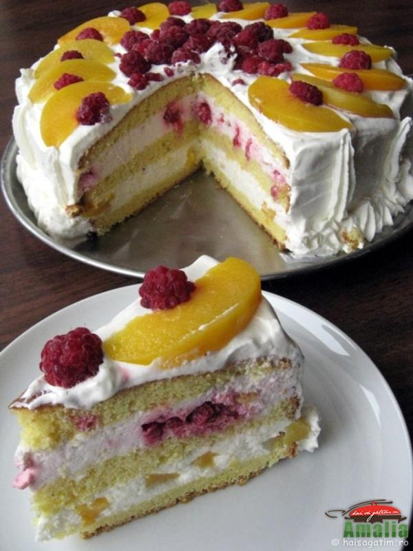 Tort cu zmeura si piersici (tortzm6)   imagine reteta