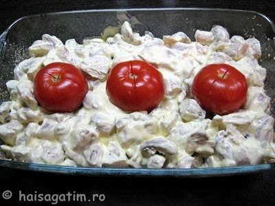 Pui la cuptor cu ciuperci si smantana (pui61)   imagine reteta
