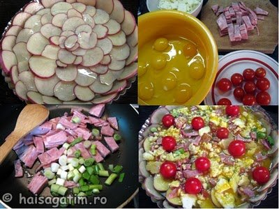 Quiche cu branza, rosii, sunca si crusta de cartofi (quiche2)   imagine reteta