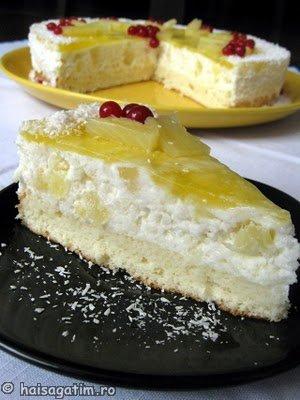 Tort tropical cu orez si ananas (tortt5)   imagine reteta