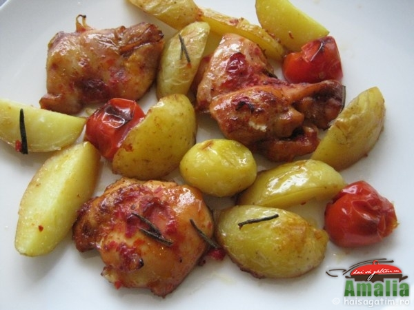 Pui la tava cu cartofi si rosii cherry (puilatava0)   imagine reteta
