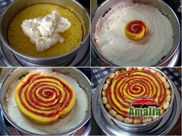 Tort cu jeleu de capsuni si crema de unt (Tort cu jeleu de capsuni 6)   imagine reteta