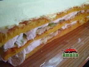 Tort Oaza cu crema de vanilie si fructe exotice (Asamblare tort 9 resize1 290x217)   imagine reteta