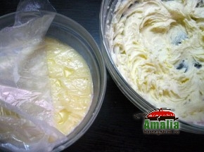 Tort Oaza cu crema de vanilie si fructe exotice (Crema 1 resize 290x217)   imagine reteta