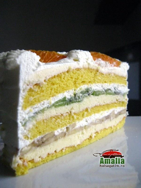 Tort Oaza cu crema de vanilie si fructe exotice (Tort Oaza 0)   imagine reteta