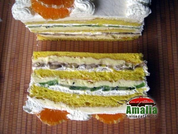 Tort Oaza cu crema de vanilie si fructe exotice (Tort Oaza 011)   imagine reteta